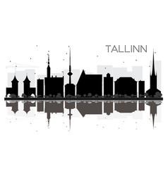 tallinn city skyline black and white silhouette vector image vector image