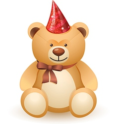 The bear toy with a bow and festive cap vector image