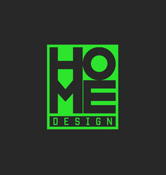 word home logo green lettering typography poster vector image vector image