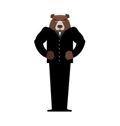 bear manager businessman in suit wild animal vector image