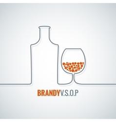 brandy glass bottle background vector image vector image