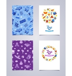 Decorative leaflet design made of toys vector