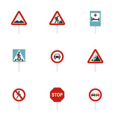 triangular and circular traffic signs icons set vector image