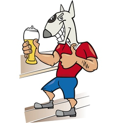 bullterrier man with glass of beer cartoon vector image