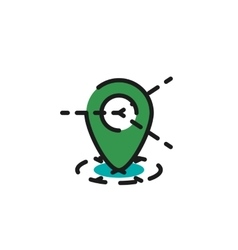 Color line icon for flat design Map tag vector image vector image