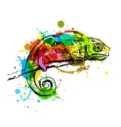 Colored hand sketch chameleon vector image