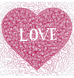 colorful doodle background heart valentines day vector image vector image