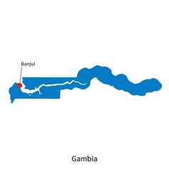 Detailed map of Gambia and capital city Banjul vector image