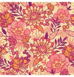 Fall flowers seamless pattern background vector image vector image