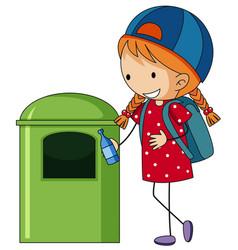 girl throwing bottle in trashcan vector image vector image