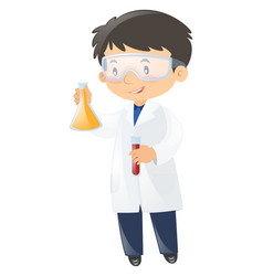 scientist holding two beakers vector image