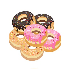 Six Glazed Donuts Assortment on White Background vector image vector image