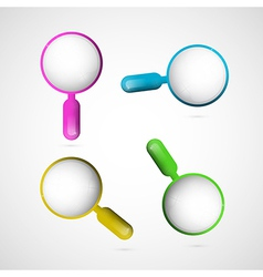 3d Blue Pink Yellow and Green Magnifying Glass Set vector image