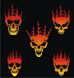 5 Burning Skulls vector