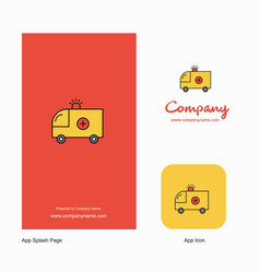 ambulance company logo app icon and splash page vector image
