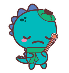 An aching dinosaur with a thermometer stickers vector