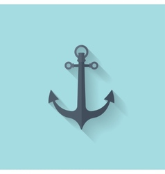 Anchor flat web icon vector image