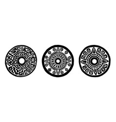 ancient maya circle flowers vector image