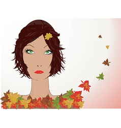 Autumn leaves with lady vector