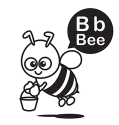 B Bee cartoon and alphabet for children to vector