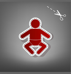 baby sign red icon with for vector image