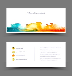 Banner watercolor blue yellow vector image