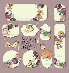 big set with vintage christmas decoration flyers vector image