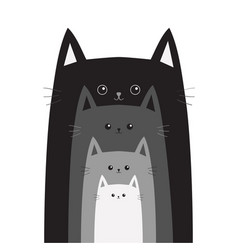 Black gray cat head cats in a row cute cartoon vector