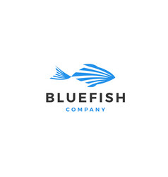 blue fish logo icon vector image
