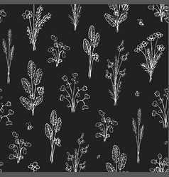 Botanica dark - seamless monochrome pattern vector