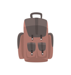Brown backpack casual rucksack vector