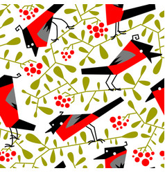 bullfinch seamless pattern in flat simple style vector image