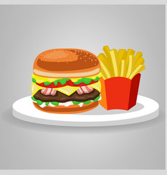 burger hamburger food meal potato fries fast food vector image