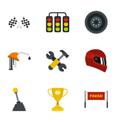 car race icons set flat style vector image