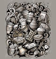 cartoon doodles coffe shop vector image