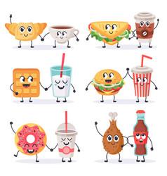cartoon food characters junk food mascots vector image