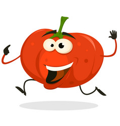 cartoon happy tomato character running vector image