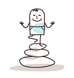 Cartoon yoga man on pile stones vector