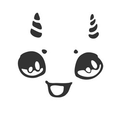 Cheerful little face with horns vector