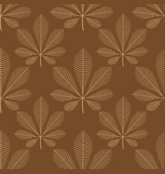 chestnut leaves brown seamless pattern vector image