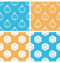 Child face pattern set colored vector