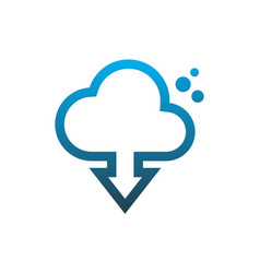 cloud computing download data design icon vector image