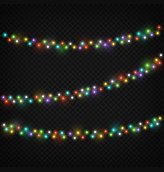 Color light garlands christmas lights holiday vector