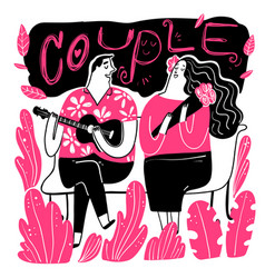 couples looking singer with love in the park vector image