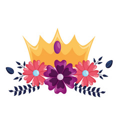 Crown luxury flowers vector
