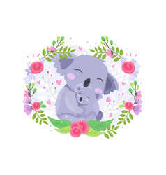 cute koala mother and baby vector image