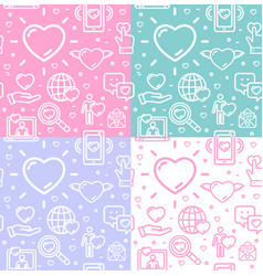 dating love signs seamless pattern background set vector image