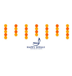 Decorative happy diwali banner with flowers vector