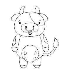Dotted shape cute and happy cow wild animal vector