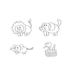 drawing cartoon lion dog rat snake animal vector image